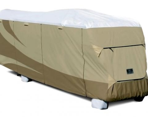 Adco Covers 32813, RV Cover, Designer Tyvek (R), For Class C Motorhomes, Fits 23 Foot 1 Inch To 26 Foot Length Coach, 26 Inch Length x 102 Inch Width x 110 Inch Height, All Weather Protection, Breathable/ Water And UV Resistant, Two-Tone Tan With White To