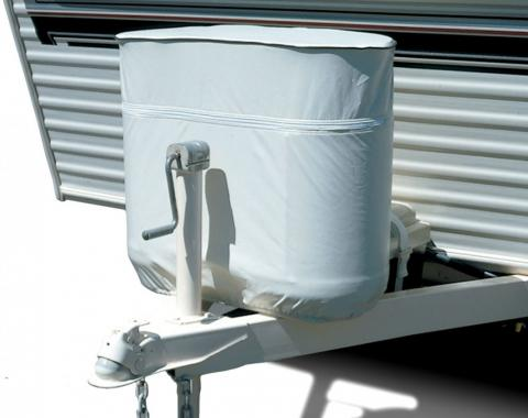 Adco Covers 2112, Propane Tank Cover, For Dual 20 Pound - 5 Gallon Tank While Mounted, Weatherproof, Polar White, Vinyl, With Access To Valve Through Zipper, With Hollow Bead Welt Cord And Elastic Shock Cord