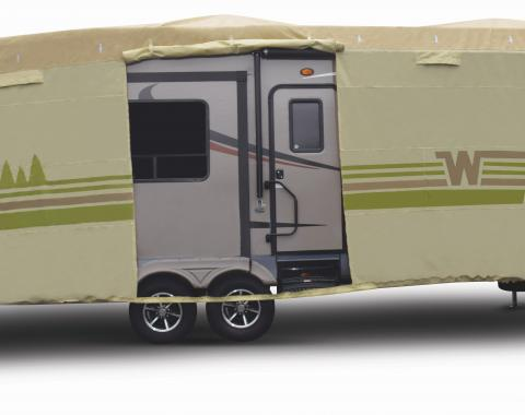Adco Covers 64855, RV Cover, Winnebago (TM), For Fifth Wheel Trailers, Fits 31 Foot 1 Inch To 34 Foot Length Trailers, All Weather Protection/ UV Resistant, Tan, Breathable Top With Multi-Layer Polypropylene Sides
