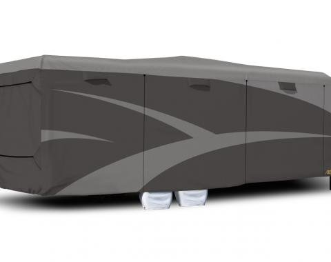 Adco Covers 52275, RV Cover, Designer SFS Aquashed (R), For Toy Haulers, Fits 30 Foot 1 Inch To 33 Foot 6 Inch Length Travel Trailers, 402 Inch Length x 106 Inch Width x 120 Inch Height, Moderate Weather Protection