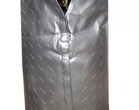 Adco Covers 2711, Propane Tank Cover, For Single 20 Pound - 5 Gallon Tank While Mounted, Weatherproof, Diamond Plated Steel Design, Vinyl, With Access To Valve Through Velcro Closure, With Hollow Bead Welt Cord And Elastic Shock Cord