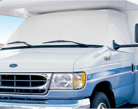 Adco Covers 2424, Windshield Cover, For Class C And Class B Ram Promaster Motorhomes Manufactured 2014 To 2018, Protects Dashboard From Fading And Cracking Against Sun, Mounts With Magnets, White, Vinyl