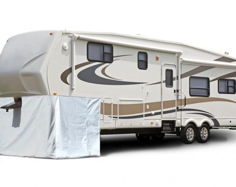 Adco Covers 3503, Fifth Wheel Skirt, 296 Inch Length x 64 Inch Height, Polar White, Laminated Vinyl, With Zipper Doors For Storage Access, Includes Skirting/ Screw-In Fasteners And Tent Spikes, Snap Mount