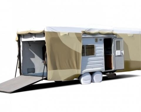 Adco Covers 32871, RV Cover, Designer Tyvek (R), For Toy Haulers, Fits Up to 20 Foot Length Travel Trailers, 246 Inch Length x 106 Inch Width x 120 Inch Height, All Weather Protection, Breathable/ Water And UV Resistant, Two-Tone Tan With White Top