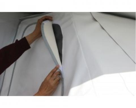 Adco Covers 2524, Windshield Cover, For Class C Motorhomes, Protect Dashboard From Fading And Cracking Due To Sun Exposure, Mounts With Magnets, White, Vinyl, Sewn-In Door Pockets, With Storage Bag