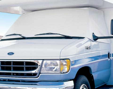 Adco Covers 2407, Windshield Cover, For Class C Ford 350 And 450 Motorhomes Manufactured 1996 To 2016, Protects Dashboard From Fading And Cracking Against Sun, Mounts Using Magnetic Fasteners And Anti-Theft Tabs, White, Vinyl, With Storage Pouch