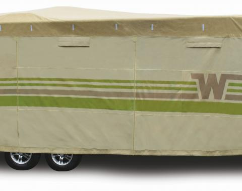 Adco Covers 64846, RV Cover, Winnebago (TM), For Travel Trailers, Fits 31 Foot 7 Inch To 34 Foot Length Trailers, All Weather Protection/ UV Resistant, Tan, Breathable Top With Multi-Layer Polypropylene Sides