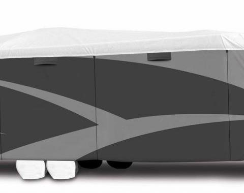 Adco Covers 34842, RV Cover, Tyvek (R) Plus, For Travel Trailers, Fits 22 Foot 1 Inch To 24 Foot Length Trailers, All Weather Protection, Breathable/ Water Resistant And Protects From UV Rays/ Rain/ Snow And Wind, Gray, Polypropylene Sides