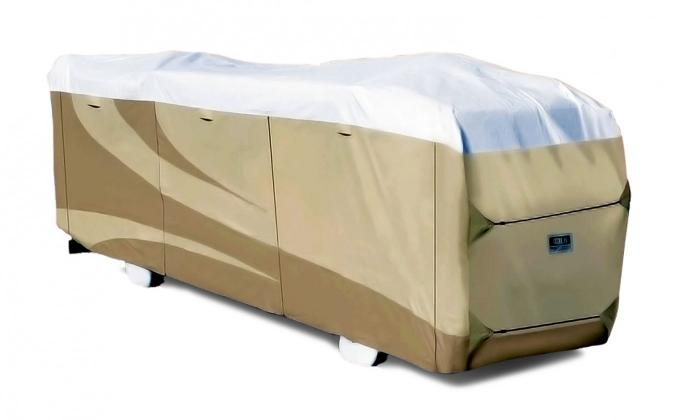 Adco Covers 32824, RV Cover, Designer Tyvek (R), For Class A Motorhomes, Fits 28 Foot 1 Inch To 31 Foot Length Coach, 31 Foot Length x 106 Inch Width x 114 Inch Height, All Weather Protection, Breathable/ Water And UV Resistant, Two-Tone Tan With White Top