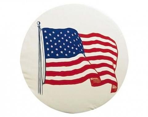 Adco Covers 1787, Spare Tire Cover, Fits 27 Inch Diameter Tires, US Flag Printed Design, White, Vinyl, With Hollow Bead Welt Cord And Elasticized Back, With UV Protection