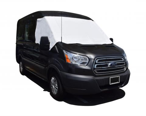 Adco Covers 2425, Windshield Cover, For Class C And Class B Ford Transit Motorhomes Manufactured 2015 To 2018, Protects Dashboard From Fading And Cracking Against Sun, Mounts With Magnets, White, Vinyl