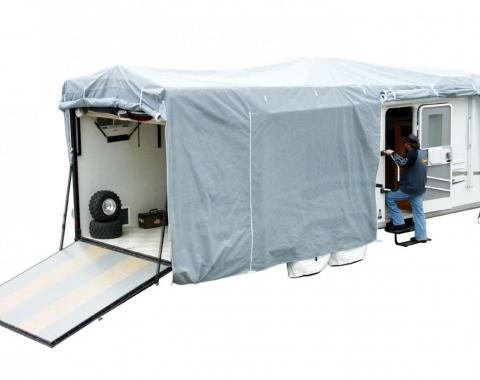 Adco Covers 42276, RV Cover, SFS AquaShed (R), For Toy Haulers, Fits 33 Foot 1 Inch To 37 Foot Length Travel Trailers, 444 Inch Length x 102 Inch Width x 116 Inch Height, Moderate Weather Protection, Breathable/ Resists High Humidity And UV Rays, Gray