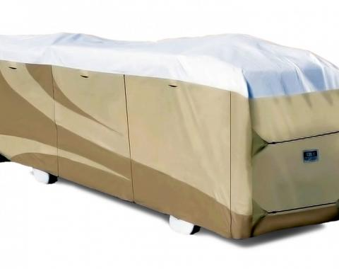 Adco Covers 32827, RV Cover, Designer Tyvek (R), For Class A Motorhomes, Fits 37 Foot 1 Inch To 40 Foot Length Coach, 40 Foot Length x 106 Inch Width x 132 Inch Height, All Weather Protection, Breathable/ Water And UV Resistant, Two-Tone Tan With White Top