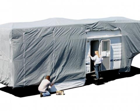 Adco Covers 42254, RV Cover, SFS AquaShed (R), For Fifth Wheel Trailers/ Toy Haulers, Fits 28 Foot 1 Inch To 31 Foot Length Travel Trailers, 372 Inch Length x 102 Inch Width x 126 Inch Height, Moderate Weather Protection