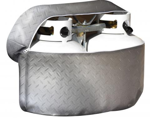 Adco Covers 2712, Propane Tank Cover, For Double 20 Pound Tanks, Vinyl, Diamond Plated Steel Design