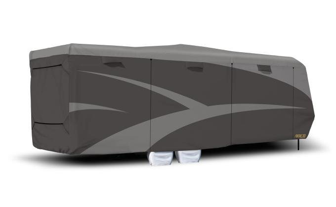Adco Covers 34858, RV Cover, Designer Series, For Fifth Wheel Trailers, Fits 40 Foot To 43 Foot 6 Inch Length, Moderate Weather Protection, Breathable/ Resists High Humidity And UV Rays, Gray, 3 Layer Fabric Top/3 Layer Polypropylene Sides