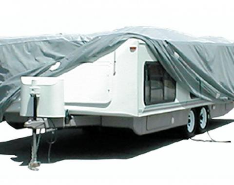 Adco Covers 12253, RV Cover, SFS AquaShed (R), For Hi-Lo Style Trailers, Fits Up To 22 Foot 7 Inch To 26 Foot Length Travel Trailer, 312 Inch Length x 100 Inch Width x 60 Inch Height, Moderate Weather Protection
