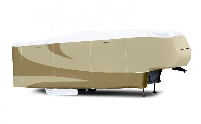 Adco Covers 32851, RV Cover, Designer Tyvek (R), For Fifth Wheel Trailers, Fits Up to 23 Foot Length Trailers, 276 Inch Length x 100 Inch Width x 108 Inch Height, All Weather Protection, Breathable/ Water And UV Resistant, Two-Tone Tan With White Top