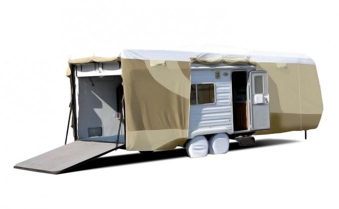 Adco Covers 32876, RV Cover, Designer Tyvek (R), For Toy Haulers, Fits 33 Foot 7 Inch To 37 Foot Length Travel Trailers, 450 Inch Length x 106 Inch Width x 120 Inch Height, All Weather Protection, Breathable/ Water And UV Resistant