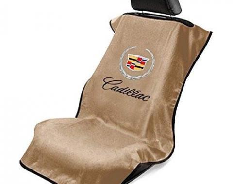 Seat Armour Cadillac Seat Towel, Tan with Script SA100CADT