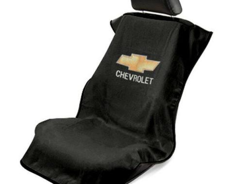 Seat Armour Chevrolet Seat Towel, Black with Script SA100CHVB