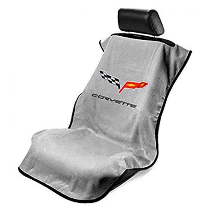 Seat Armour 2005-2013 Corvette Seat Towel, Gray with C6 Logo SA100COR6G