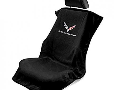 Seat Armour 2014-2019 Corvette Seat Towel, Black with C7 Logo SA100COR7B