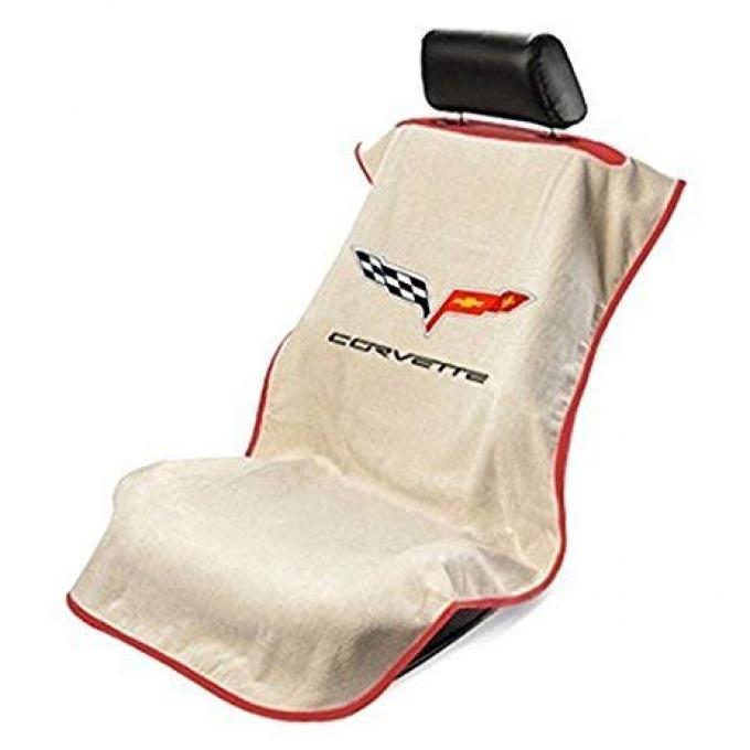 Seat Armour 2005-2013 Corvette Seat Towel, Tan with C6 Logo SA100COR6T