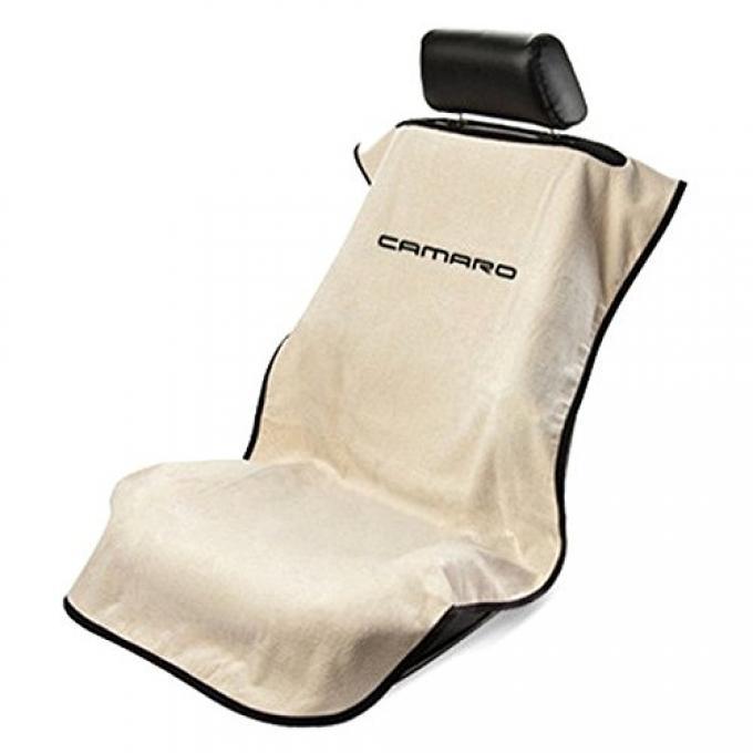 Seat Armour 2010-2019 Camaro Seat Towel, Gray with Tan Script SA100NCAMT