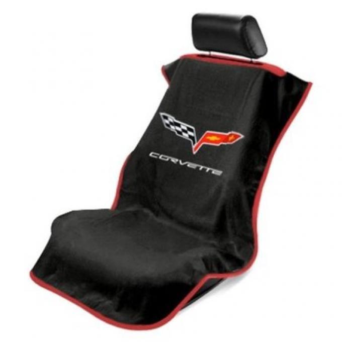 Seat Armour 2005-2013 Corvette Seat Towel, Black with C6 Logo SA100COR6B