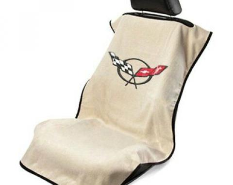 Seat Armour 1997-2004 Corvette Seat Towel, Tan with C5 Logo SA100COR5T
