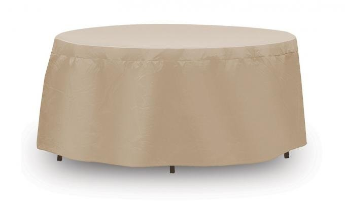"PCI Dura-Gard Round Table Cover, Tan, 60.5"" Table, 60.5W x 60.5D x 20H in., 1132-TN"