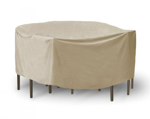 "PCI Dura-Gard Oval/Rectangle Bar Table and Chair Cover, Tan, 60""-66"" Table , with Umbrella Hole, 108W x 60D x 40H in., 1140-TN"
