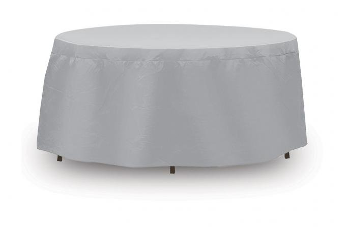 """PCI Dura-Gard Round Bar Table and Chair Cover, Gray, 48""""-54"""" Table with 4 Highback Chairs, with Umbrella Hole, 92W x 92D x 40H in., 1142"""