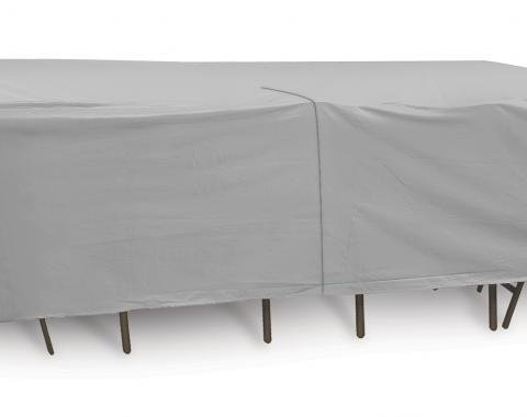 """PCI Dura-Gard Oval/Rectangle Table and HIghback Chair Cover, Gray, 72""""-76"""" Table , with Umbrella Hole 120W x 80D x 30H in., 1146"""
