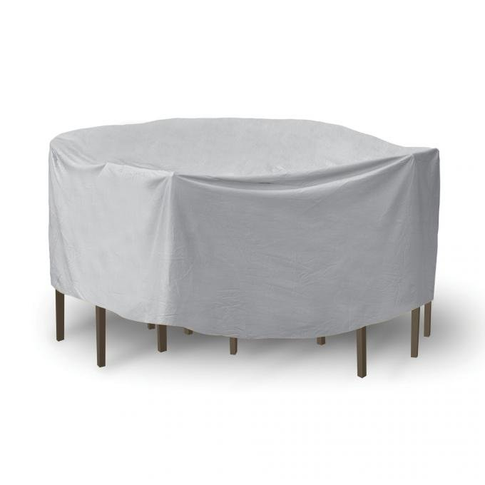 "PCI Dura-Gard Round Table and Chair Cover, Gray, 60"" Table with 4 Chairs, 108W x 108D x 30H in., 1349"